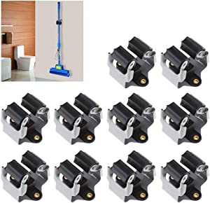 Broom Holder Wall Mount 10 Pack,Mop Holder Clamp Organizer Hanger Rack for Wall
