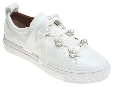 ddad55e49013a AnnaKastle Womens Pearl Lace Up Low Top Sneaker Trainers White