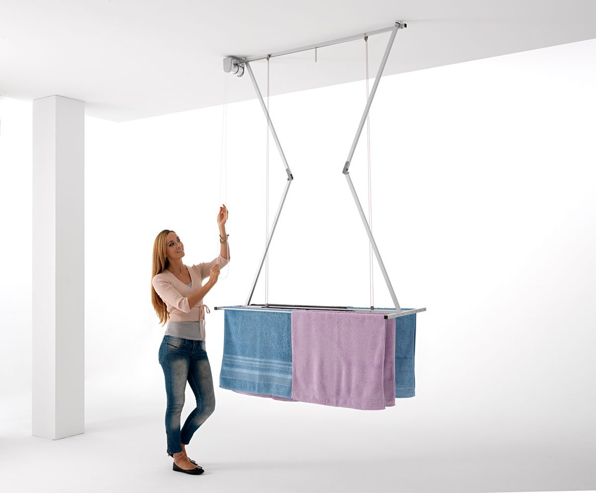 ceiling mounted pulley clothes airer clothes drying rack airer foxydry mini 120 vertical folding laundry drying rack amazoncouk kitchen u0026 home