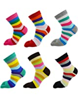 Women Wicking Five Toes Finger Socks Cotton Crew Athletic Cute Striped 6 Pack