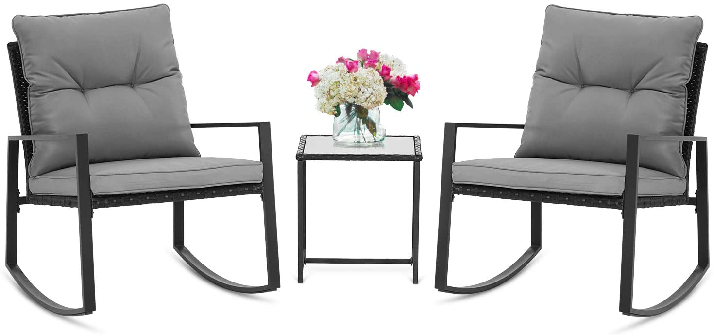 SUNCROWN Outdoor 3-Piece Rocking Bistro Set: Black Wicker Furniture Two Chairs and Glass Coffee Table (Dark Grey Cushion)