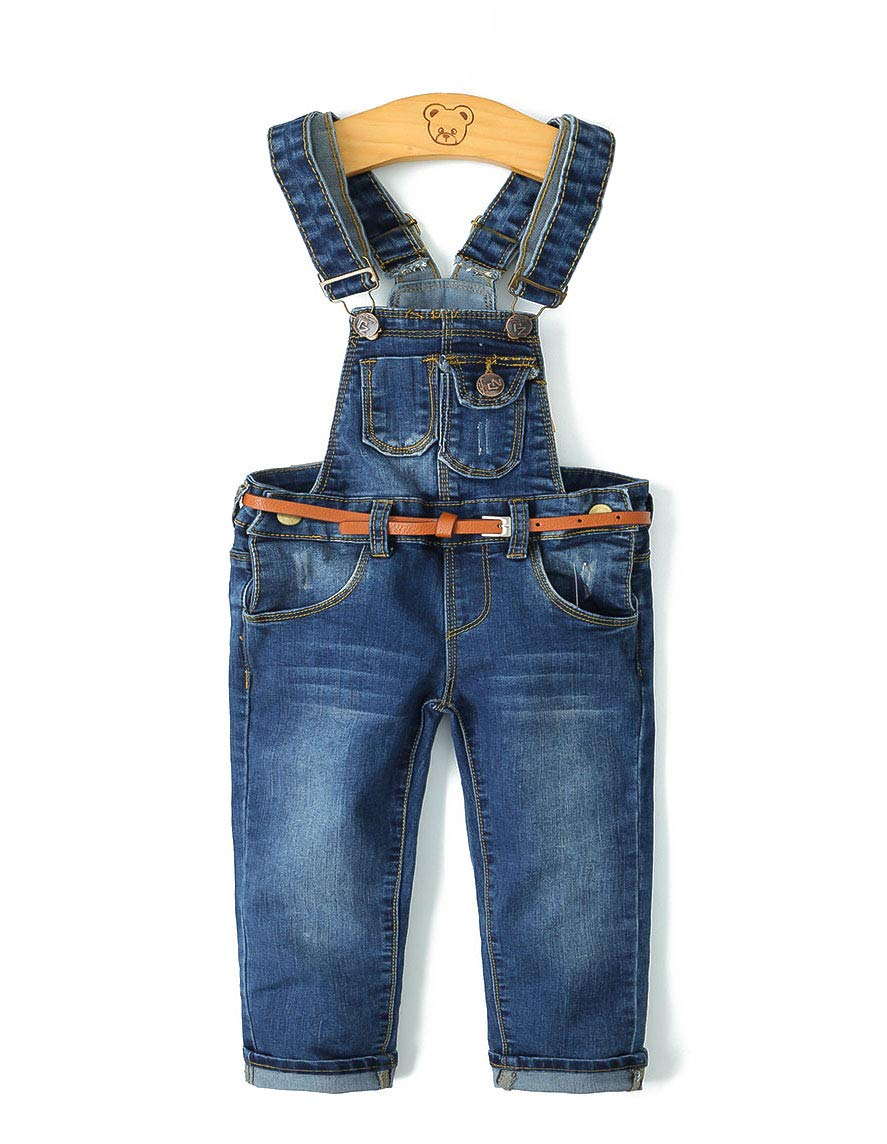 Kidscool Child Ripped Holes Stretchy Stone Washed Soft Slim Jeans Overalls,Deep Blue,6-7 Years by Kidscool