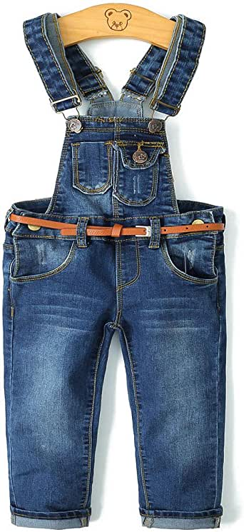 KidsCool Baby & Toddler Adjustable Deep Blue Washed Jeans Overalls
