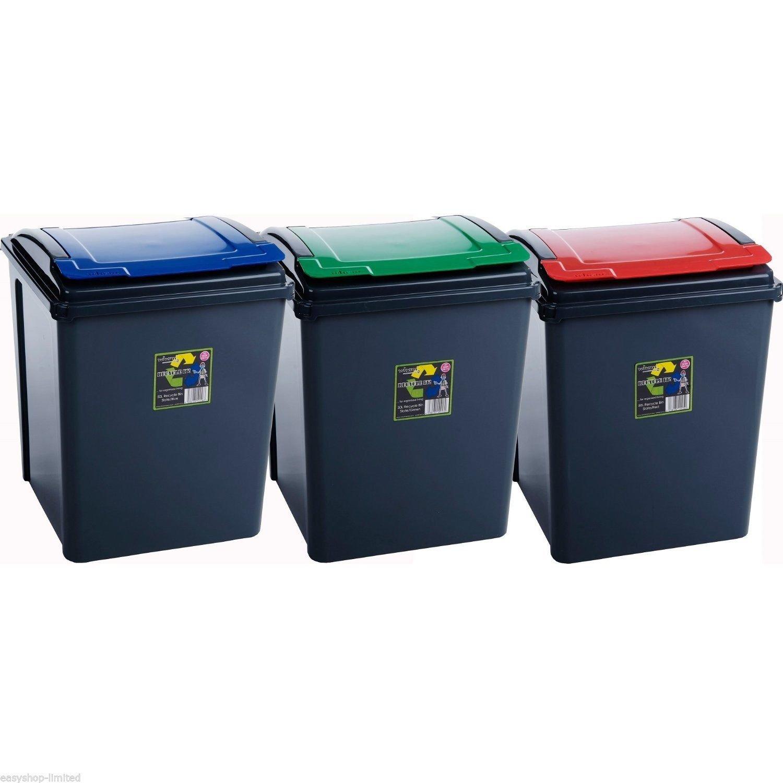 25L/50L/65L/80L/90L Plastic Durable Black Dustbins Rubbish Waste Recycling Bins (Set Of 3 ( 50L Recycling Bins )) Home In Style