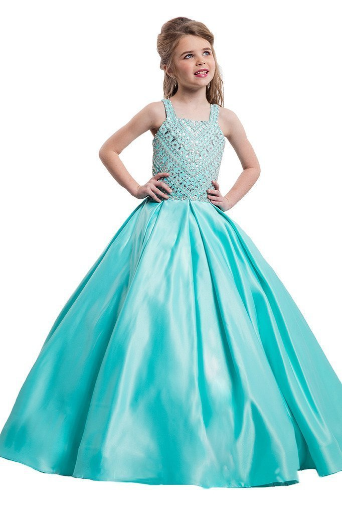 GreenBloom Crystal Girls'Pageant Ball Gowns Dress 16 US Light Blue