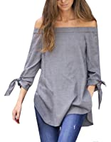 Kissky Women's Off The Shoulder Long Sleeve Knotted Top Blouse