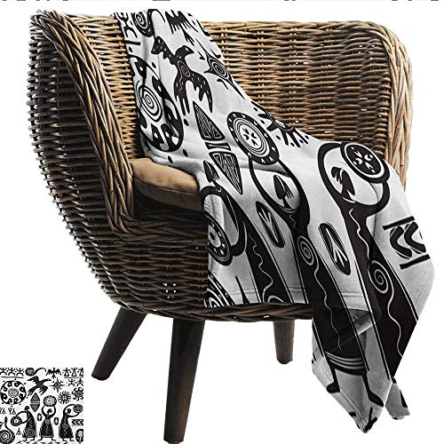 Anshesix Lightweight Blanket Primitive Dancing Shaman Eagle Sun Snake Figure Prehistoric Cave Drawing Tribal Folk Theme Print Summer Quilt Comforter W54 xL72 Sofa,Picnic,Camping,Beach,Everyday ()