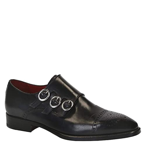 Shoes Leonardo Uomo Monk 4120black Strap Pelle it NeroAmazon