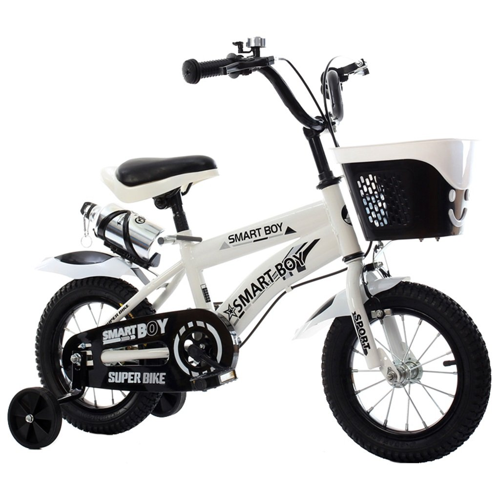 KANGR-子ども用自転車 子供用自転車アウトドアマウンテンバイク2-3-6-8ボーイズとガールズ子供用玩具調節可能ハンドルバー/トレーニングホイール付きサドルウォーターボトルとホルダー-12 / 14/16/18インチ ( 色 : 白 , サイズ さいず : 14 inch ) B07BTRQF3C 14 inch|白 白 14 inch