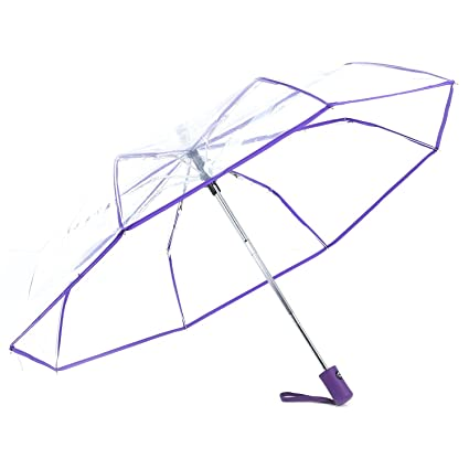61fcfb9df8a0 TOOGOO Transparent Umbrella Automatic Umbrella Rain Women Men Sun Rain Auto  Umbrella Compact Folding Windproof Style Clear umbrella,purple border