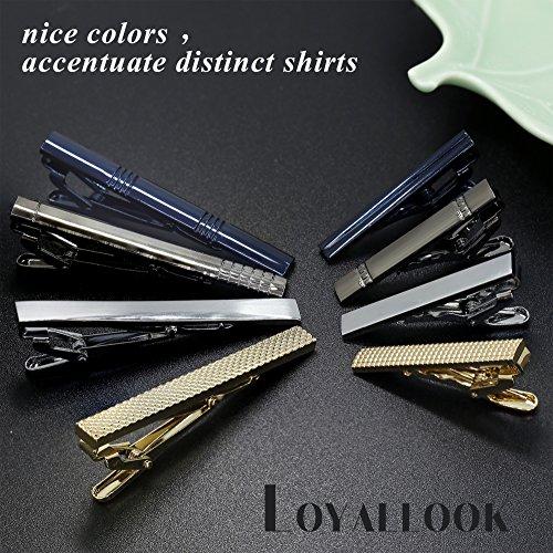 LOYALLOOK 8PCS Tie Bar Clip Set Tie Tack Pins Clips for Men Necktie Bar Pinch Clip Set Skinny Regular Ties Necktie Wedding Business Clips Mix by LOYALLOOK (Image #3)