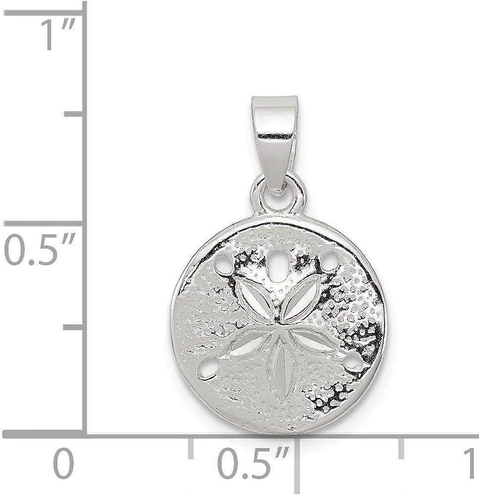 925 Sterling Silver Polished Sand Dollar Charm Pendant