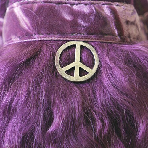 Hippi Aubergine Design Pantoffel von Pantoffeldiva Merinofilz mit Lammfell Verbrämung und Peace Anhänger unisex Größe 38-42