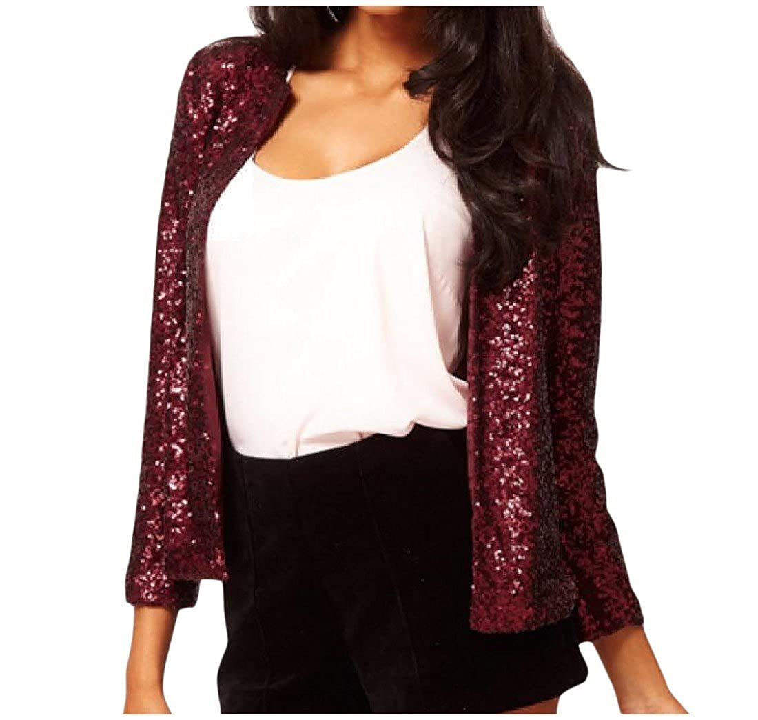 EKU Women's Loose Fit Crewneck Sequin Suit Jacket Blazer Coat
