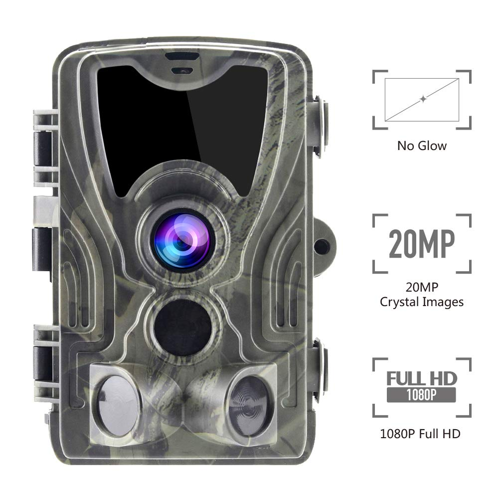 Climbose Hunting Trail Camera, 20MP 1080P No Glow Night Vision Hunting Video Cam, 75FT Wildlife Camera with 940nm IR LED, 2 LCD, Waterproof IP56