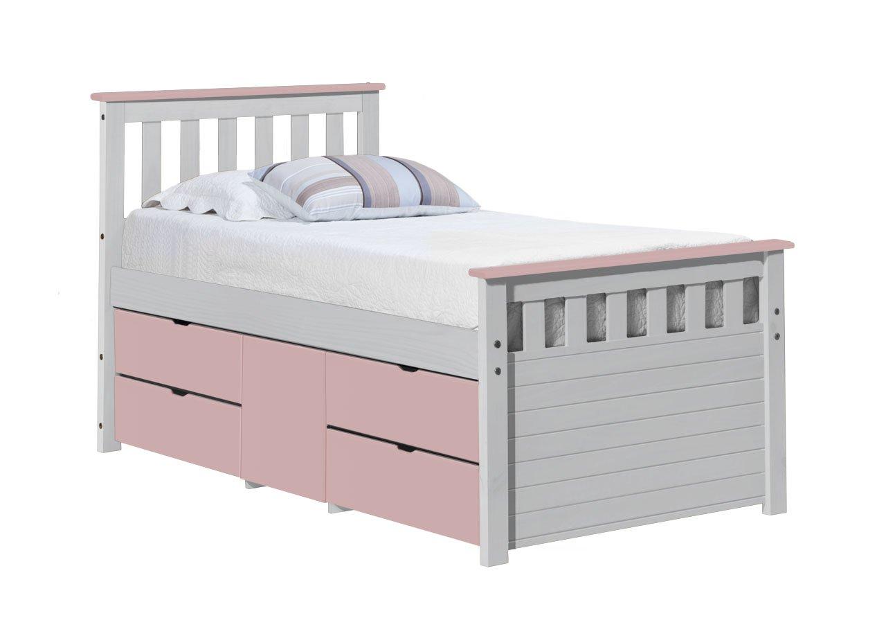 Design Vicenza Captains Ferrara Aufbewahrung Bett lang 3'0Weiß und Rosa