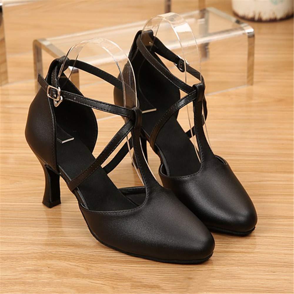 Tanzschuhe Frauen Adult 22,5 Leder Größe 22,5 Adult cm bis 25,0 cm Höhe 6 cm Schwarz + Weinrot Sommer Soft Latin Dance Schuhe Schwarz 9f0a98