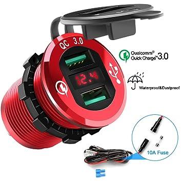 Rocketek Enchufe de Cargador USB Quick Charge 3.0, Toma de Corriente Doble para automóvil Adaptador de Agua 36W Carga rápida con voltímetro LED para ...