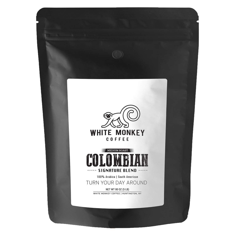 White Monkey 5LB Gourmet Bulk Coffee House Blend | Colombian Peruvian Beans | 100% Arabica | Medium Roast | Kosher | Whole Bean Coffee, 5 Pound (5 lb) Bag