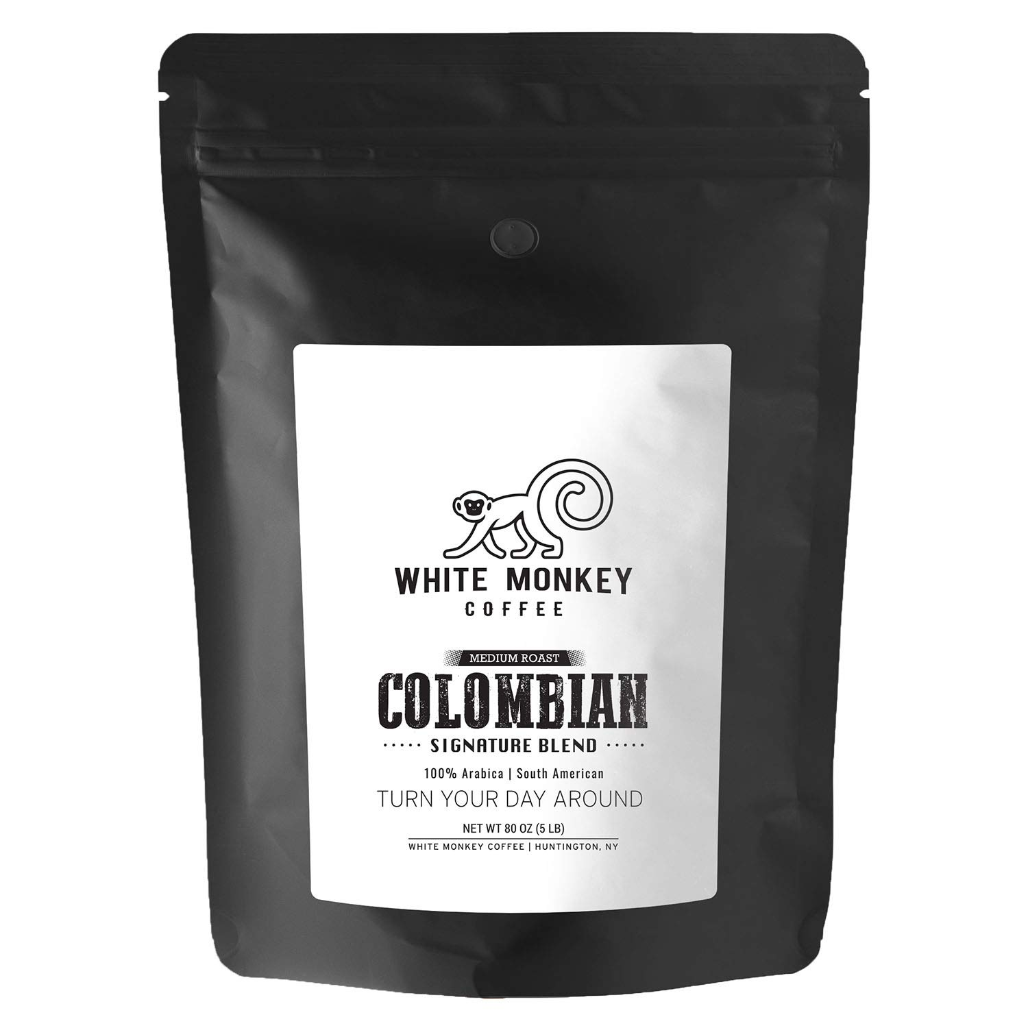 White Monkey 5LB Gourmet Bulk Coffee House Blend | Colombian Peruvian Beans | 100% Arabica | Medium Roast | Kosher | Whole Bean Coffee, 5 Pound (5 lb) Bag by Koala Lifestyle