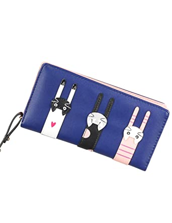 Cartoon Cats Long Leather Wallet Card Holder Zipper Purse Clutch Bag for Women