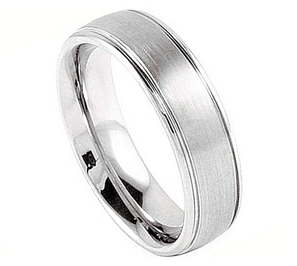 Cobalt Brushed Center Domed with High Polished Sides Wedding Band Ring Man or Ladies Free Engraving 5mm