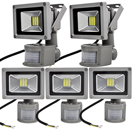 ALPHA DIMA 5pcs 20W Foco LED con Sensor Movimiento Foco Exterior LED Con Sensor Proyector 1800Lumen