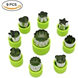 Vegetable Cutter Shapes Set,Mini Pie,Fruit and Cookie Stamps Mold,Cookie Cutter Decorative Food,for Kids Baking and Food Supplement Tools Accessories Crafts for Christmas,Green,9 Pcs