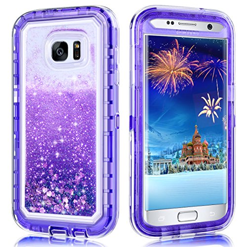 Galaxy S7 Edge Case,Wollony 360 Full Body Shockproof Liquid Glitter Quicksand Bling Case Heavy Duty Phone Bumper Soft Non-Slip Clear Rubber Protective Cover for Samsung Galaxy S7 Edge (Purple)