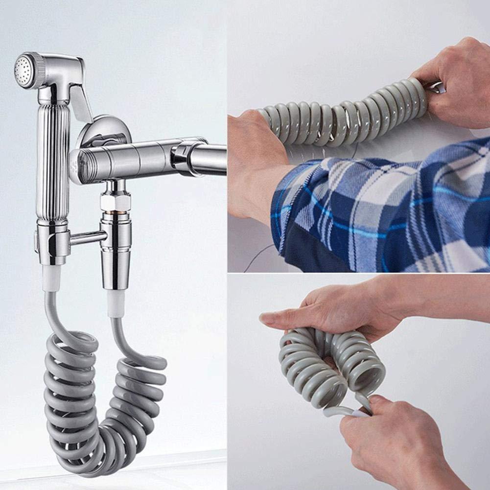 manguera de ducha flexible con resortes de ABS para plomer/ía de agua Pistola rociadora para bid/é de inodoro Ba/ño para higiene Blanco Pistola rociadora para limpieza de inodoros