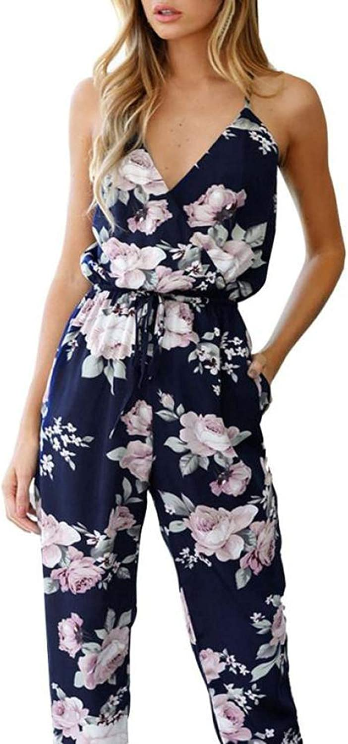 6DTV8YS Jumpsuit Female Women Jumpsuit Overalls for Women Sleeveless V Neck Floral Printed Playsuit Party Trousers