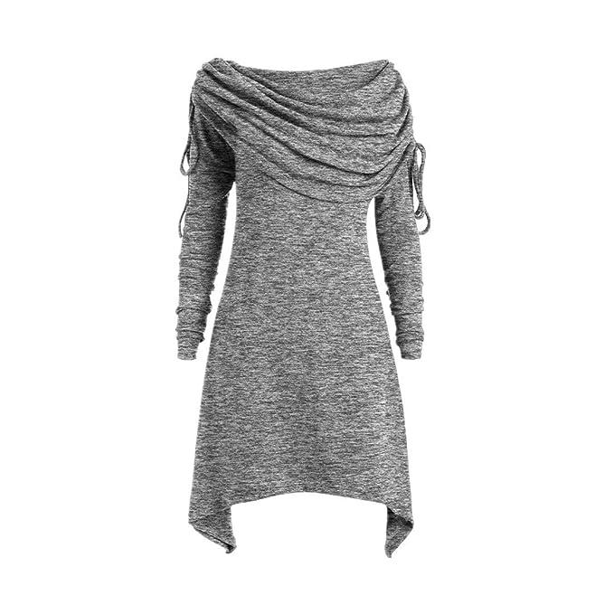 75d441a5afaea1 Damen Solide Geraffte Lange Foldover Kragen Tunika Top Bluse Langes  Oberteil Langarm Sleepwear O-Neck