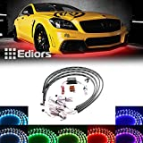 """Ediors® 7 Color LED Under Car Glow Underbody System Neon Lights Kit w/Sound Active Function and Wireless Remote Control (48"""" x 2 & 36"""" x 2)"""