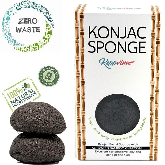 2 opinioni per Spugna viso Konjac con carbone attivo di bamb- per la pelle grassa e con acne-