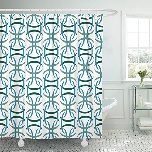 VaryHome Shower Curtain 1950S Retro Abstract Atomic Era Pattern 50S 70S Waterproof Polyester Fabric 72 x 72 inches Set with Hooks 61lky 2Bla5iL