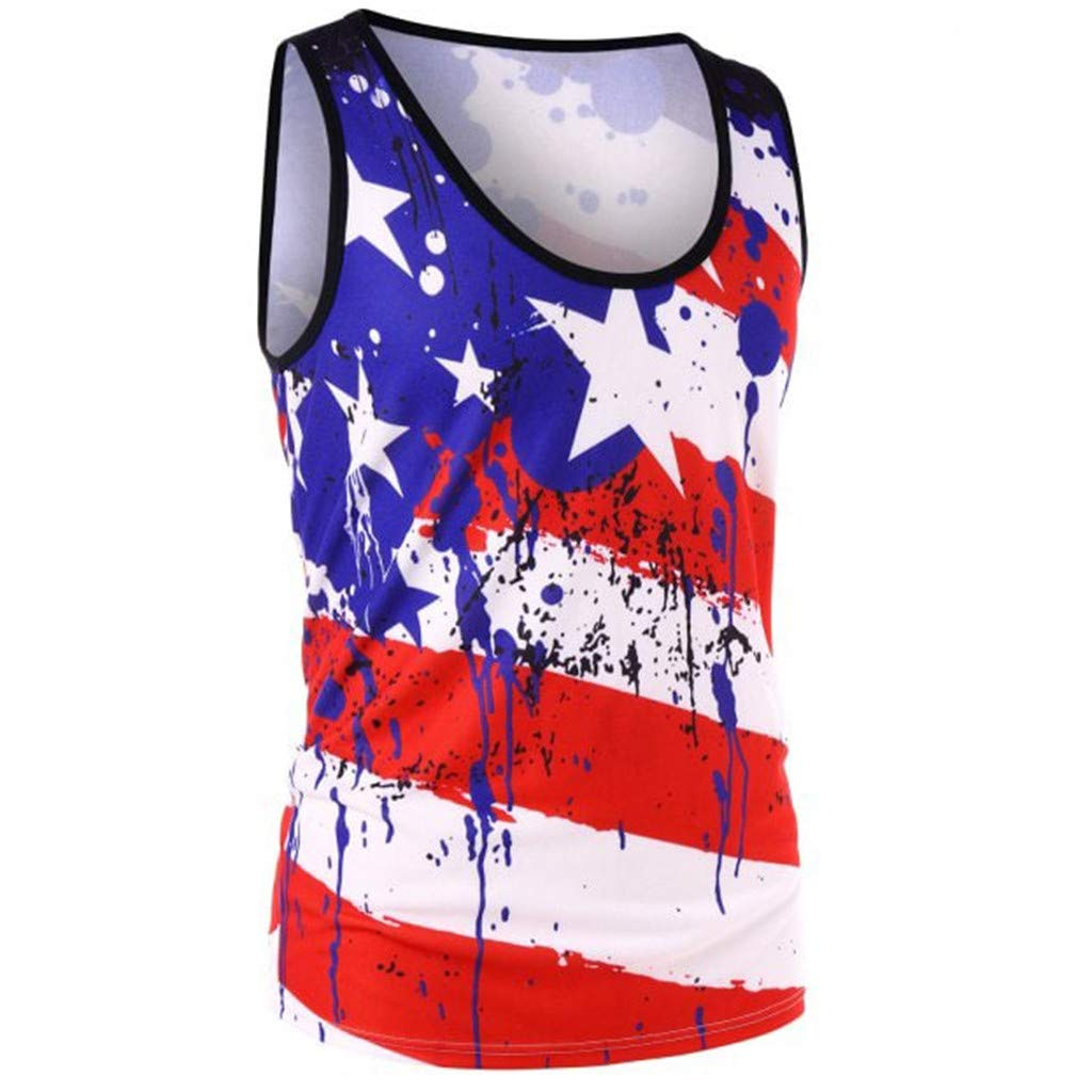Mr.Macy USA Flag,Womens Sleeveless Striped Star American Flag Print Back Ripped Tank Top