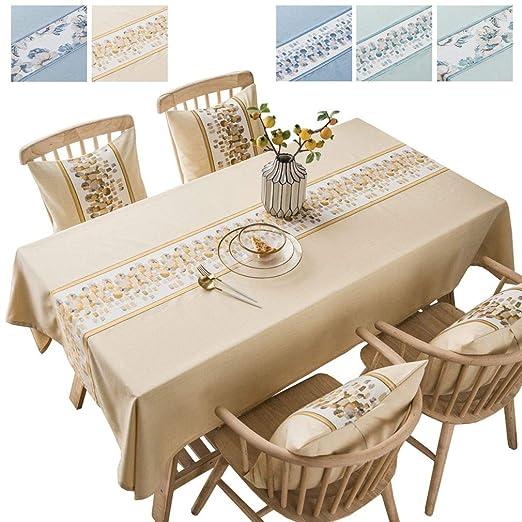 JK Home Mantel Rectangular de Lino y algodón Bordado para decoración del hogar, algodón, Lino, Amarillo, 135x300cm: Amazon.es: Hogar