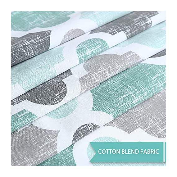"""Haperlare Fabric Shower Curtain, Aqua Polyester Cotton Blend Fabric for Bathroom Showers and Bathtubs, Geometric Pattern Heavy Textured Fabric Shower Curtain for Bathroom, 72"""" x 72"""", Gray/Aqua - QUALITY MATERIAL: Our shower curtain with soft hand feel is made ofa 75% polyester/25% cotton blend fabric, odorless, eco-friendly and durable, thick material. Instantly upgrades any bath to create a relaxing spa-like environment. BATHROOM DECORATIONS: The fabric shower curtain provides perfect privacy and decorative appeal. Inspired by the feeling of stylish and elegant, the quatrefoil geometric pattern shower curtain can also instantly update any bathroom decor theme. SERVE WELL: Bold graphics printedadds real value and depth to your decor. This unique & modern designs match well with various color palettes of towels, rugs, bathroom mats and any other bathroom accessories. Not waterproof, use of liner recommended for added protection. - shower-curtains, bathroom-linens, bathroom - 61lkyLeyqpL. SS570  -"""