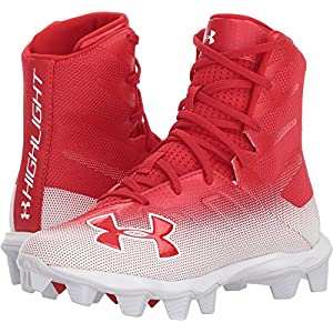 Under Armour Boys' Highlight RM Jr. Football Shoe, Red (600)/White, 5