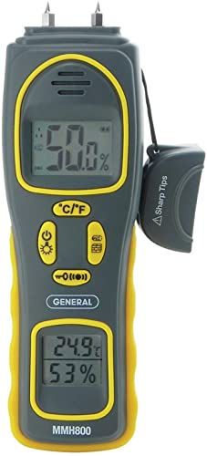 General Tools MMH800 4-In-1 Combo Moisture Meter, Pin Type or Pinless, Temperature and Humidity, Dual LCD Displays, Audible Alarm