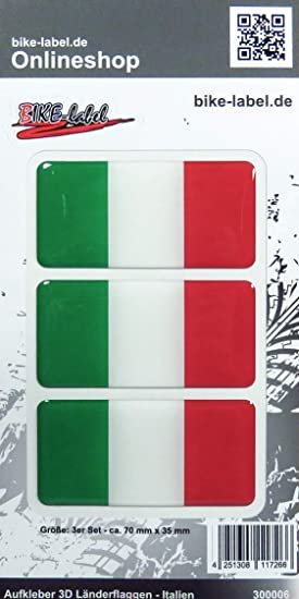 Bike Label 300006n Aufkleber 3d Länder Flaggen Italien Italy 3 Stck Je 70 X 35mm Auto