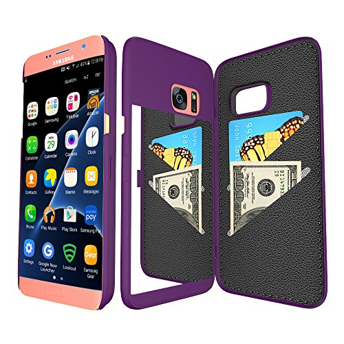 Galaxy S7 Edge Wallet Case with Mirror,Bidear(TM) Samsung Galaxy S7 Edge Case Card Key Slot Holder Kickstand Back Cover,Creative Design for Galaxy S7 Edge 5.5 inch-Purple