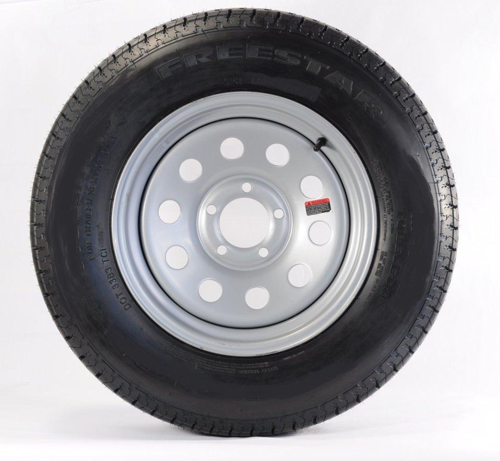 eCustomRim Trailer Tire + Rim ST205/75D15 F78-15 205/75-15 15 LRC 5 Lug Wheel Silver Mod
