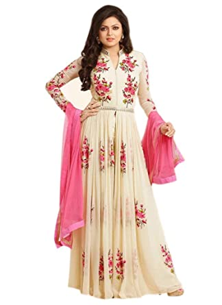 6ec12e17a1fe Shoppingover Salwar Kameez Ready Made Stitched Pakistani Style For Women  Ivory Color  Amazon.co.uk  Clothing