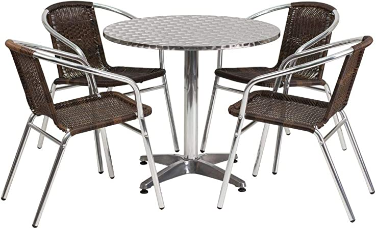 Flash Furniture 23.5 Square Aluminum Indoor-Outdoor Table Set with 2 Dark Brown Rattan Chairs