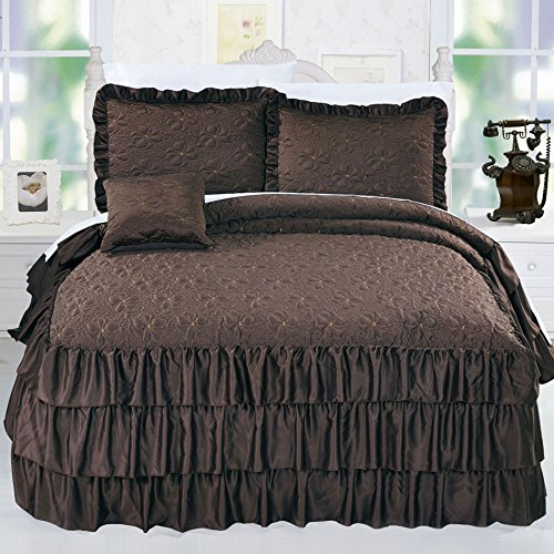 Home Soft Things Serenta 4 Piece Matte Satin Ruffle Quilted Bedspread Set, Queen, Chocolate