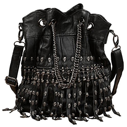 YALUXE Women's Skull Studded Bling Tassel Lambskin Leather Purse Cross Body Shoulder Bag Drawstring