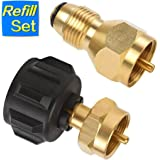 1 LB Propane Refill Adapter Set Universal 1 Pound Disposable Cylinder Bottle for QCC1/POL LP Gas Tank- 100% Solid Brass