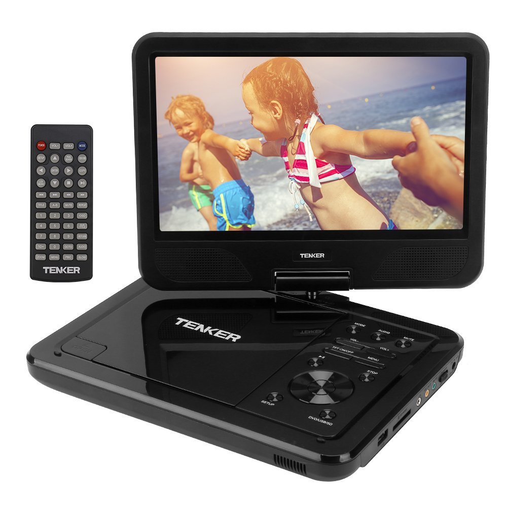 TENKER  10.5'' Portable Dvd Player With Swivel Screen, 3 Hours Rechargeable Battery With Sd Card Slot And Usb Port, Black