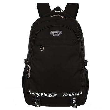 Mochila de senderismo súper moderna, mochila escolar impermeable de nailon, para deportes, ordenadores portátiles., mujer hombre Infantil, negro, ...